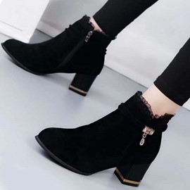Ericdress Patchwork Chunky Heel Side Zipper Ankle Boots