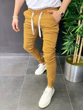 Ericdress Pencil Plain Mid Waist Lace-Up Men's Casual Pants