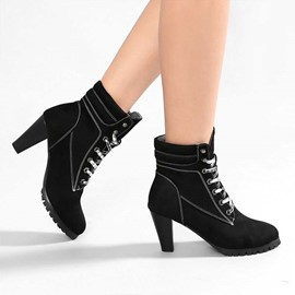 Ericdress Round Toe Plain Lace-Up Front Casual Boots