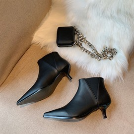 Ericdress Pointed Toe Plain Slip-On Ankle Boots