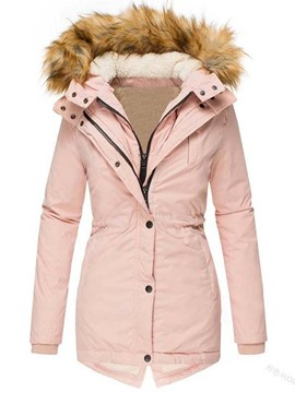 Ericdress Thick Patchwork Zipper Mid-Length Cotton Padded Jacket