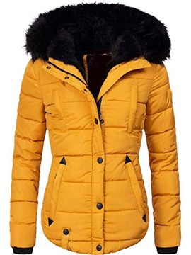 Ericdress Patchwork Slim Zipper Mid-Length Cotton Women's Padded Jacket