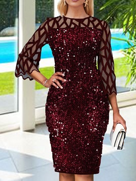 Ericdress Sequins Knee-Length Women's Bodycon Mid Waist Dress