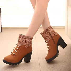 Ericdress Chunky Heel Patchwork Round Toe Ankle Boots