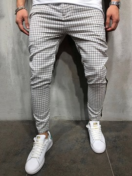 Ericdress Plaid Pencil Pants Print Spring Mid Waist Men's Casual Pants