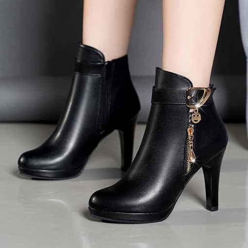 Ericdress Round Toe Stiletto Heel Side Zipper Western Boots