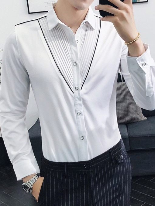 Ericdress Casual Pleated Lapel Single-Breasted Men's Shirt
