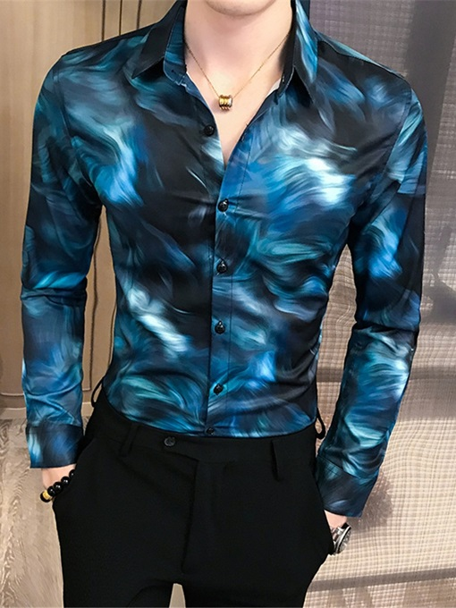 Ericdress Casual Print Lapel Single-Breasted Men's Shirt