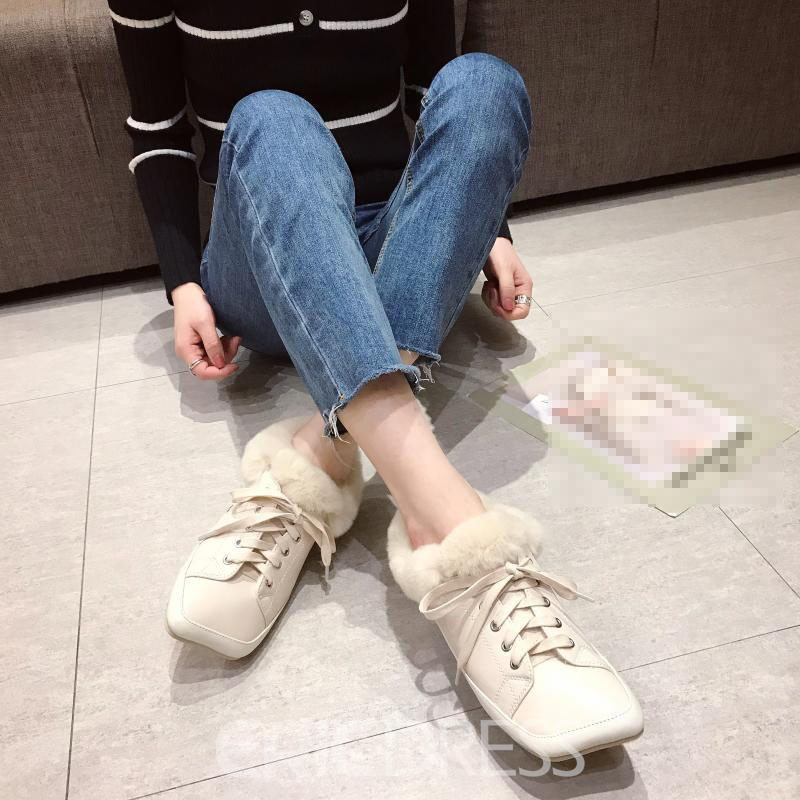Ericdress Lace-Up Square Toe Lace-Up Casual Flats