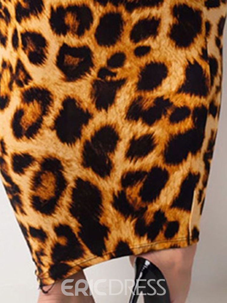 Ericdress Long Sleeve Stand Collar Ankle-Length Leopard Women's Fashion Dress