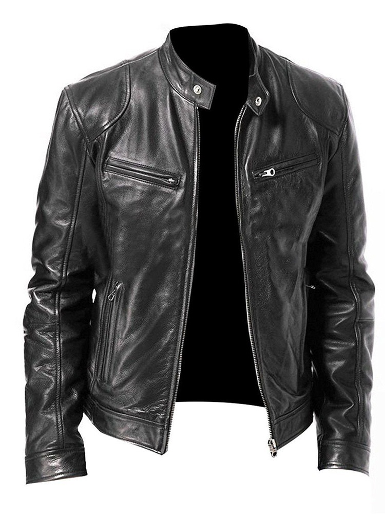 Ericdress Stand Collar Plain Standard Zipper Casual Leather Men's Jacket