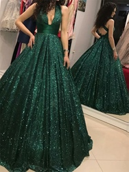 Ericdress Sequins Halter Sleeveless Floor-Length Prom Dress 2020