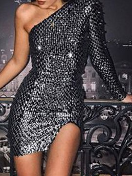 Ericdress Oblique Collar Long Sleeve Sequins Sexy One-Shoulder Women's Dress
