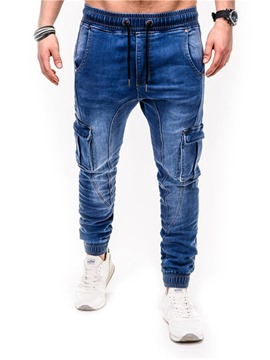 Ericdress Pocket Pencil Pants Plain Lace-Up Mid Waist Men's Jeans