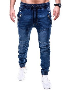 Ericdress Plain Pencil Pants Casual Lace-Up Men's Jeans