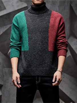 Ericdress Color Block Standard Patchwork Men's Casual Sweater