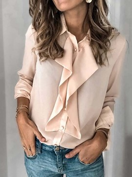 Ericdress Button Lapel Plain Long Sleeve Women's Standard Blouse