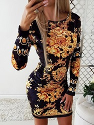 Ericdress Print Long Sleeve Round Neck Regular Floral Womens Dress