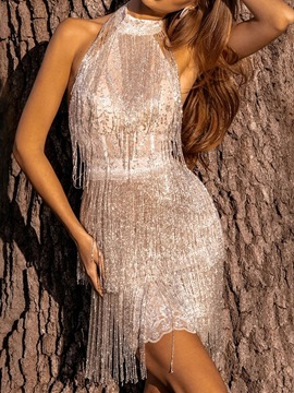 Ericdress Sequins Above Knee Sleeveless Women's Bodycon Plain Dress