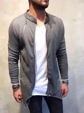 Ericdress Asymmetric Cardigan Plain Zipper Men's Casual Hoodies
