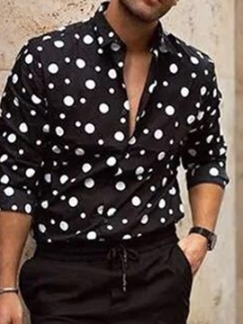 Ericdress Polka Dots Lapel Print Single-Breasted Men's Shirt