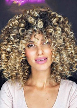 Ericdress Short Afro Curly Wigs with Bangs for Women Kinky Curly Synthetic Hair Capless Wigs 16Inch