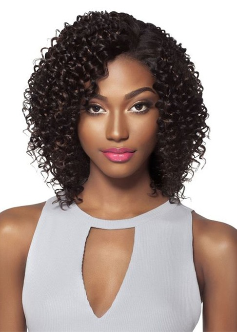 Ericdress Short Length Side Part Bob Hairstyle Women's Kinky Curly Human Hair Lace Front Wigs 14Inch