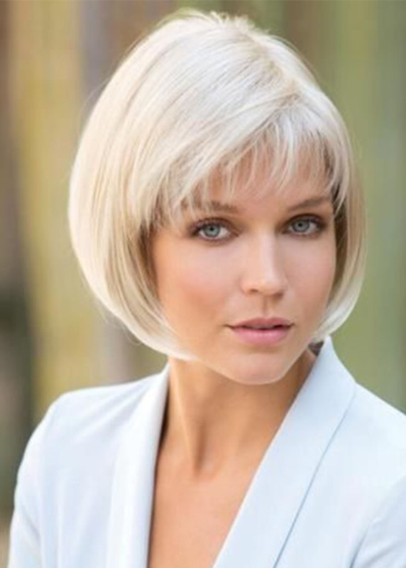 Ericdress Womens 613 Short Bob Hairstyles Straight Synthetic Hair Wigs With Bangs Capless Wigs 10Inch, #wigs,