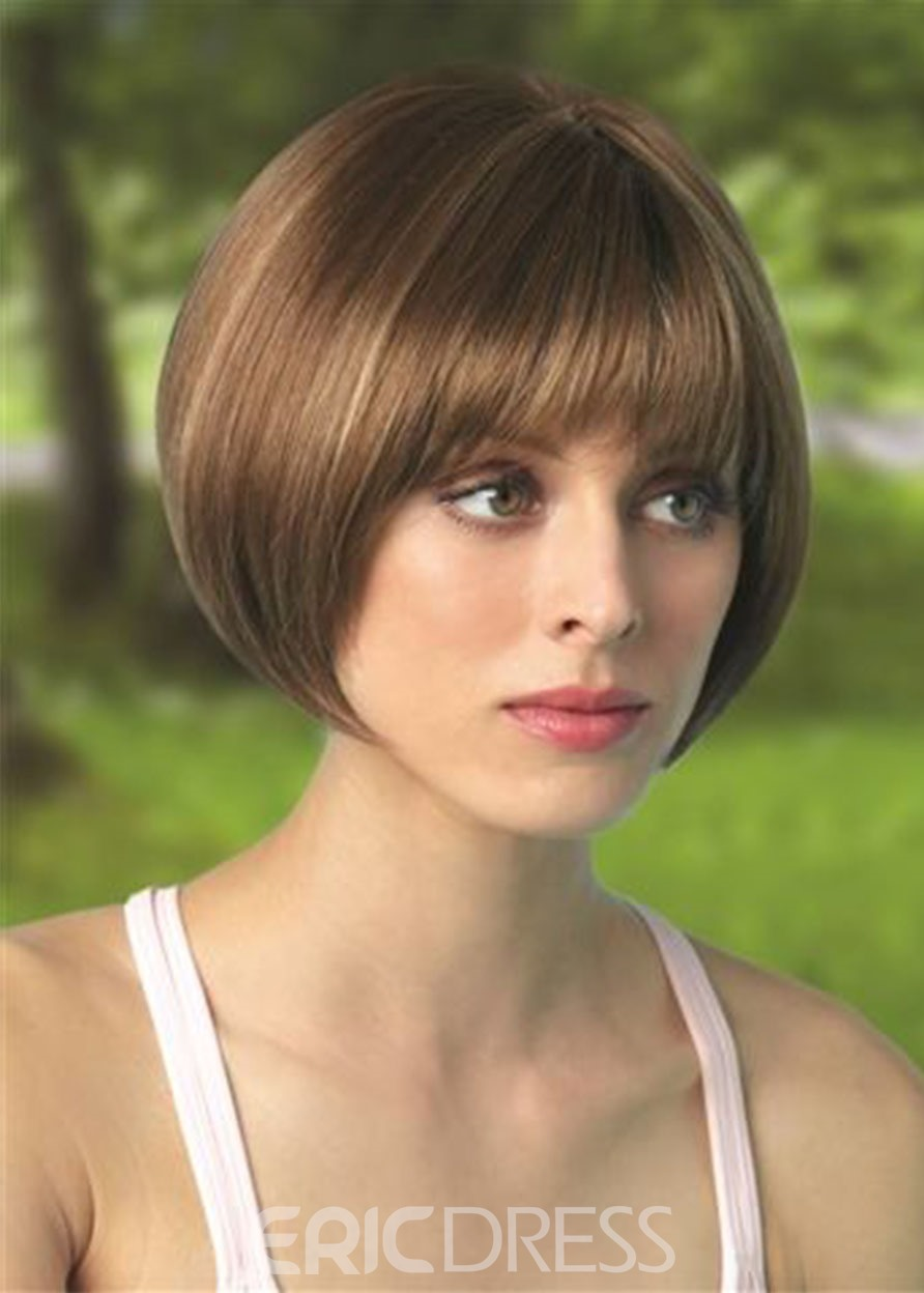 Ericdress Short Bob Hairstyle Wigs For Women With Bangs Synthetic Hair Wigs Straight Hair Capless Wigs 8Inch