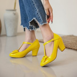 Ericdress T-Shaped Buckle Chunky Heel Round Toe 7cm Thin Shoes