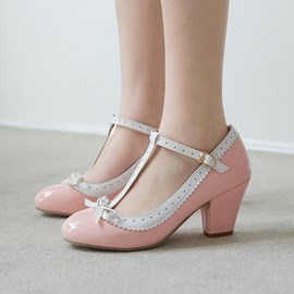 Ericdress Round Toe T-Shaped Buckle Chunky Sandals