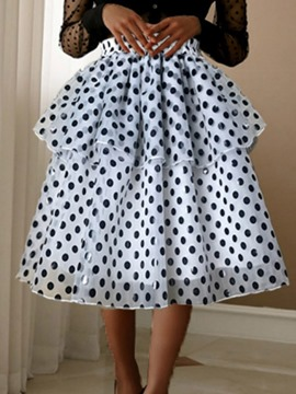 Ericdress Mesh Polka Dots Mid-Calf Women's Sweet Skirt