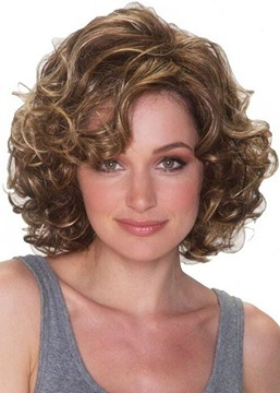 Ericdress Short Curly Bob Hairstyles Women's Side Part Afro Curly Human Hair Wigs Brown Color Lace Front Cap Wigs 14inch