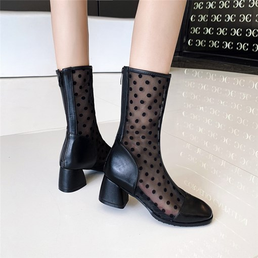 Ericdress Patchwork Round Toe Chunky Heel Flat Boots
