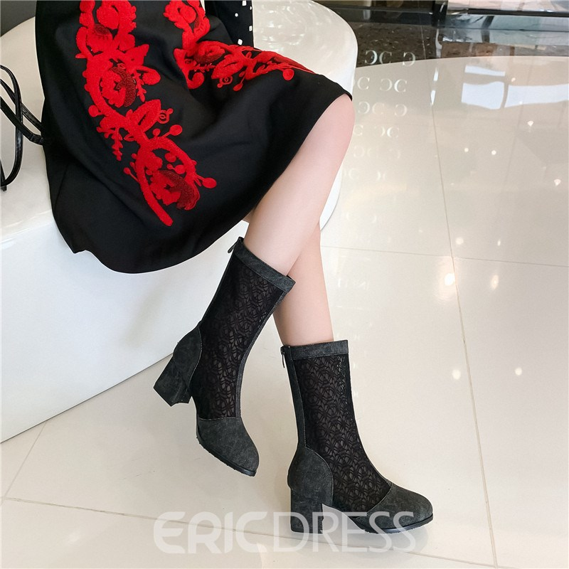 Ericdress Patchwork Round Toe Back Zip Hollow Boots