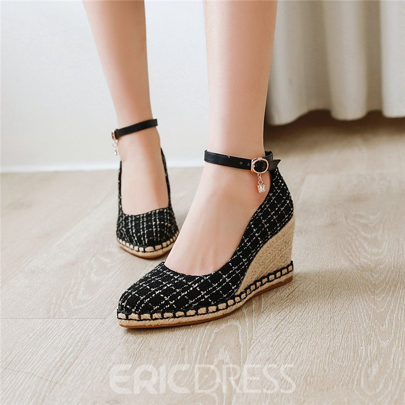Ericdress Pointed Toe Line-Style Buckle Wedge Sandals