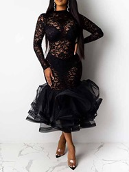 Ericdress Mid-Calf Lace Long Sleeve Pullover Party/Cocktail Womens Dress