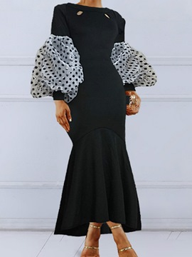 Ericdress Ankle-Length Round Neck Long Sleeve Polka Dots Women's Dress