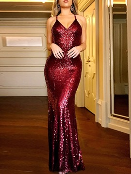 Ericdress V-Neck Sequins Floor-Length Pullover Mermaid Women's Dress