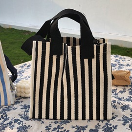 Ericdress Canvas Stripe Patchwork Rectangle Tote Bags