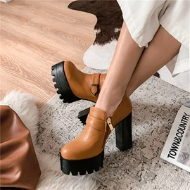 Ericdress Zipper Chunky Heel Plain Ankle Boots