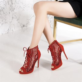 Ericdress Zipper Heel Hollow Stiletto Sandals