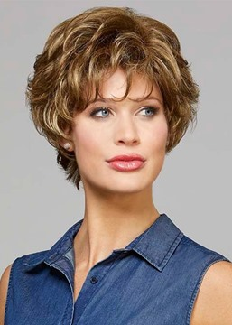 Ericdress Fabulous Women's Short Curly Hairstyles Blonde 100% Human Hair Lace Front Cap Wigs With Bangs 10Inch