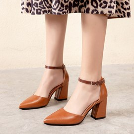 Ericdress Line-Style Buckle Thread Pointed Toe Chunky Sandals