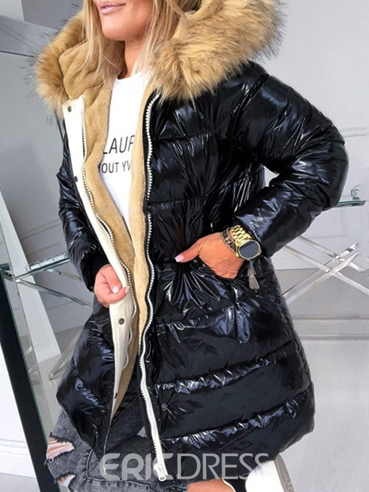 Ericdress Faux Fur Hooded Loose Thick Mid-Length Cotton Padded Jacket Women's Coat