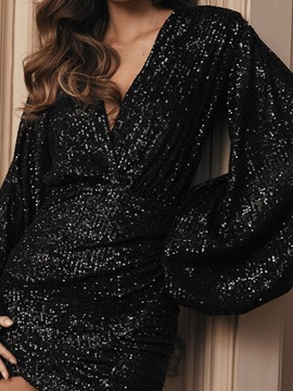 Ericdress V-Neck Sequins Long Sleeve Fall Lantern Sleeve Women's Dress