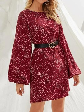 Ericdress Long Sleeve Above Knee Round Neck Polka Dots A-Line Women's Dress