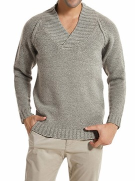 Ericdress V-Neck Standard Plain Men's Slim Sweater