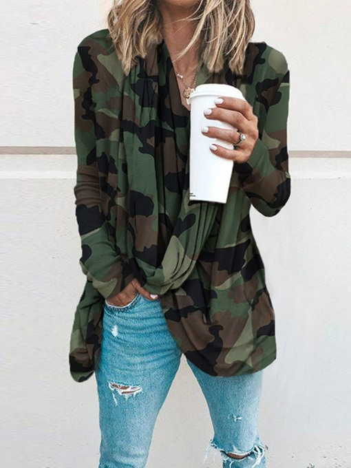 Ericdress Long Sleeve Mid-Length Camouflage Women's Loose Casual T-Shirt