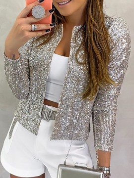 Ericdress Nine Points Sleeve Straight Sequins Standard Women's Jacket